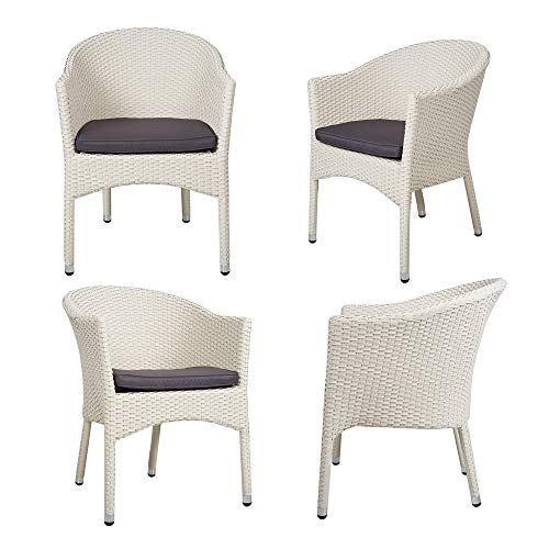 Dporticus Patio Armchair Rattan Chair Set Outdoor Modern All-Weather Wicker Round Dining Chairs with Cushions,Set of 4(White) (Armchairs Wicker White)