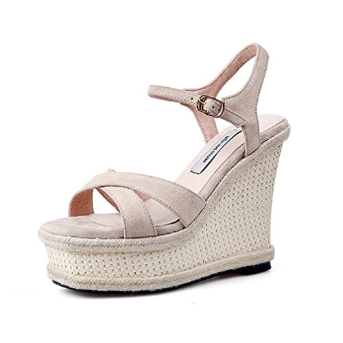 Clear Platform Sweet Shoes - Kyle Walsh Pa Platform Sandals for Women,Sweet Suede Buckle Ankle-Strap Clear Wedges Shoes