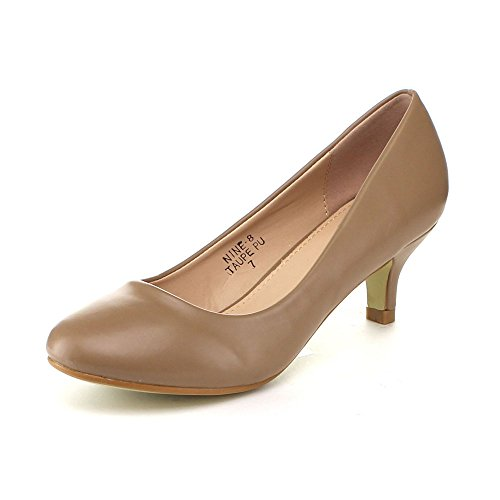 Bellamarie Nine-8 Donna Comode Slip Slip On Pump Party Dress Kity Scarpe Tacco, Colore: Taupe, Misure: 7.5