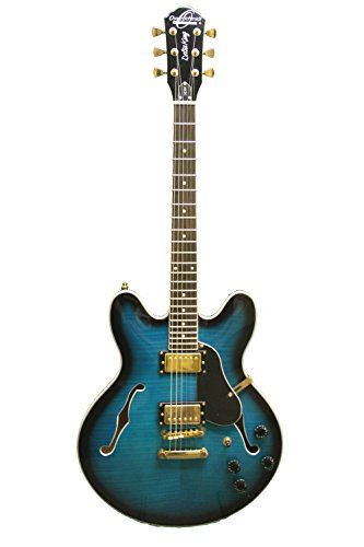 Oscar Schmidt OE30 Delta Blues Semi Hollow Electric Guitar, BlueBurst, (Blues Hollow Body Guitar)