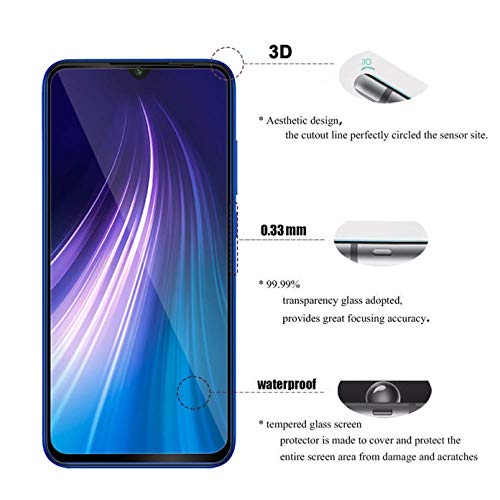 WOW Imagine | Full Edge-to-Edge for Xiaomi Redmi Note 8 Full Glue 5D Full Edge-to-Edge Screen Protection Tempered Glass for Xiaomi Redmi Note 8 – Black