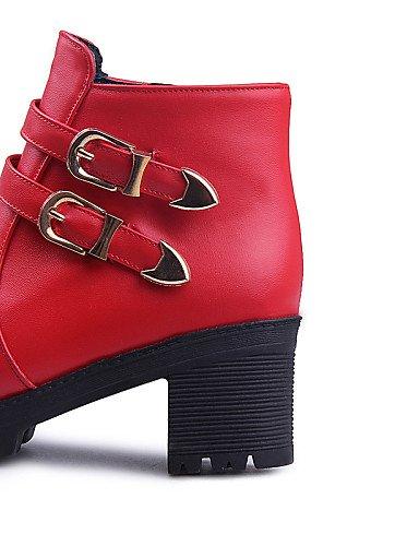 Redonda Negro Mujer U us4 Casual Eu39 Trabajo 5 Red Semicuero Cn40 4 Cerrada Oficina Uk2 Red Eu34 Xzz 5 Punta Robusto Y us8 5 Botas Zapatos De Tacón Cn33 2 5 Rojo Vestido Uk6 w6ZYS
