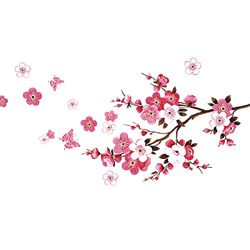 (Wopeite Wall Sticker Decal Flora Pink Peach Blossom Flowers Butterfly DIY Removable Mural Art for Kids Nursery Bedroom Living Room)