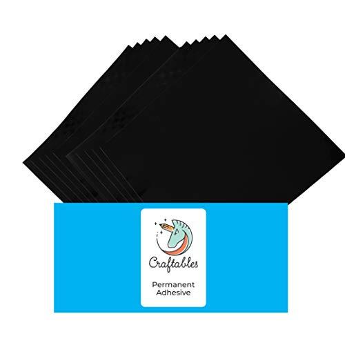 Craftables Black Vinyl Sheets - Permanent, Adhesive, Glossy & Waterproof   (10) 12