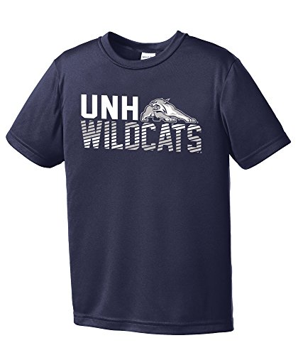 NCAA New Hampshire Wildcats Youth Boys Diagonal Short sleeve Polyester Competitor T-Shirt, Youth Small,Navy