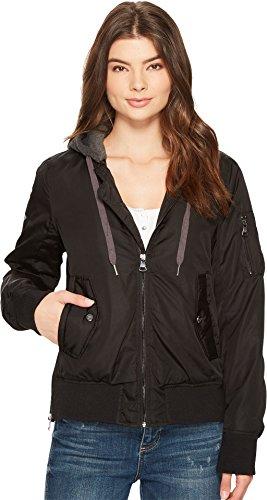 Steve Madden Women's Hooded Bomber Jacket Black 2 X-Large