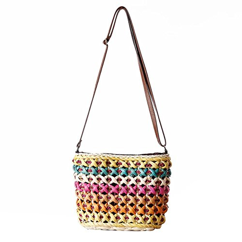 Stylish Beach Ladies Brown Simplism Strisce amp; Women Borsa Woven Yellow Tracolla Simple Tote A Borse Spalla Da Rainbow Grande Fashion Qiulv Di Line Tote HOqzAqw