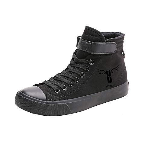 De Popular Alta Ayuda Estudiantes Con Canvas Zapatos Black07 Printed Cordones Bts Spring 85qFEwA