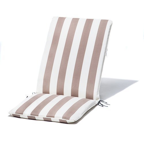Gardenista Gold Collection Ivory Oyster Striped Piped Highback Garden Dining Chair Cushion Pad Waterproof