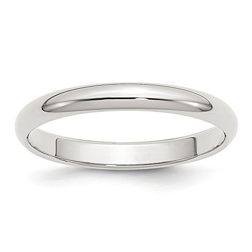 - 925 Sterling Silver 3mm Half Round Wedding Ring Band Size 5.50 Classic Domed Fine Jewelry Gifts For Women For Her
