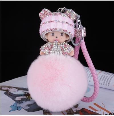 [2016 new Monchichi keychain 8cm real rabbit fur pom pom Crystal Monchichi Dolls pompom Key ring lady bag car pendant wholesale (Color: Pink)] (Nissan Pathfinder Carriage)