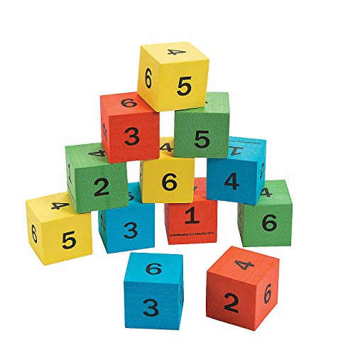Fun Express - Foam Number Math Dice - Educational - Teaching Aids - Math - 12 Pieces