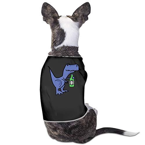 Cute T-rex Dinosaur Drinking Beer Puppy Vest Pet Sleeveless T-Shirt Jacket Sweater