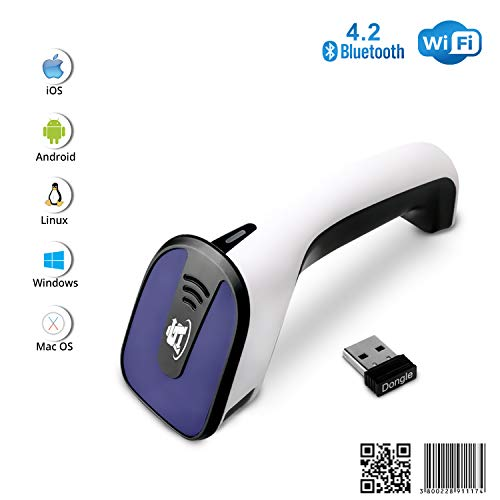 Portable Wireless Bluetooth Barcode Scanner: ScanAvenger 3-in-1 Hand Scanners - Cordless, Rechargeable 1D and 2D Scan Gun for Inventory Management - Wireless, Handheld, USB Bar Code/QR Code Reader