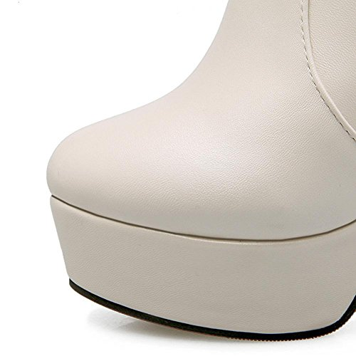 H HQuattro stagioni donne (beige. Bianco. Nero) anello di metallo corto avvio piattaforma impermeabile grossolana alta gomma usura e Skid resistente , Beige , 40