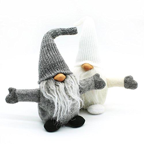 Handmade Swedish Tomte,Santa - Scandinavian Gnome Plush-Father's Day Birthday Gifts - Home Ornaments Home Decoration Table (White Felt Beard)