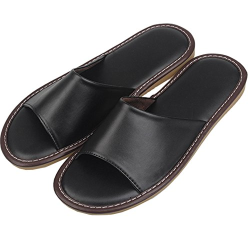 Men M Floor Summer TELLW for Wooden Leather Autumn Mute and Slippers Noir Spring PU Women qOqHv