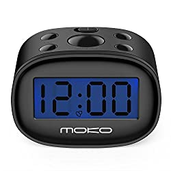 MoKo Digital Alarm Clock, High Accuracy Mini LCD Display Kids Clock Night Light Travel Bedside Alarm Clocks with Snooze Time Backlight Electronic Home Office Table Clock - BLACK
