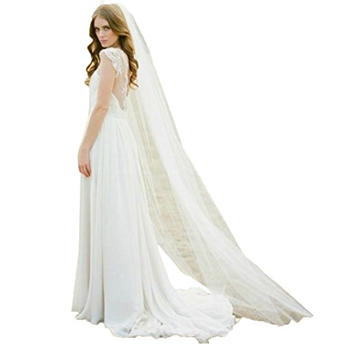 JQLD 2M One Layer Wedding Veil with Comb 1 Tier Long Tulle Simple Bridal Veils (200cm150cm, White)