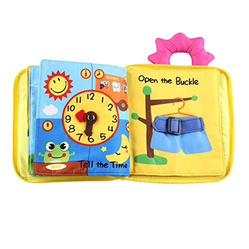 D DOLITY Libro De Tela Blando De Cremallera, Botón, Cordón, Botón, Juguete De Cognición Para Bebés De Primera Infancia