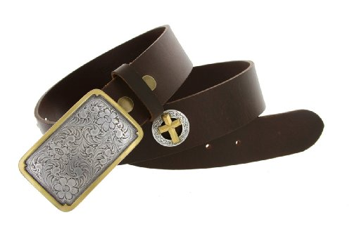 Mens Oil Tanned Leather Belt with Gold Accented Western Cowboy Buckle and Cross Conchos (38 Brown)