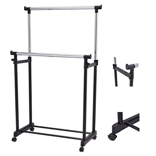 Portable Double Rail Adjustable Garment Rack Rolling Clothes Hanger Heavy Duty New - Shop For Sale Adelaide