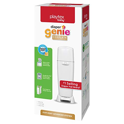 Playtex Diaper Genie Complete Pail with Built-In Odor Controlling Antimicrobial, Includes Pail & 1 Refill, White , 8.36 Pound
