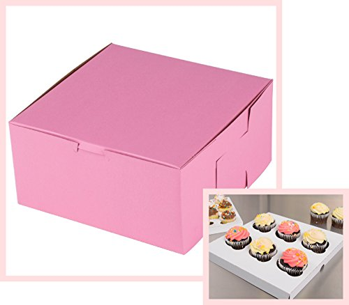 Kitchen Cupcake Insert (10 count PINK 6-Cupcake Box, 10x10x4 Pink Bakery Box with Inserts)