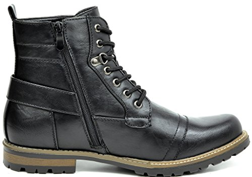 NEW BRUNO 5 Men's YORK Military Motorcycle Combat Black Boots MARC rOqOf5