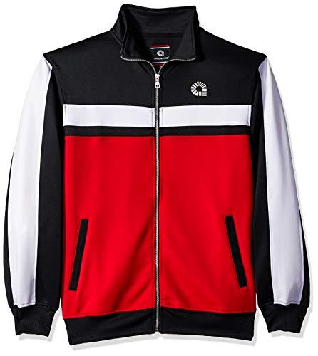 Akademiks Men's Long Sleeve Zip-up Mock Turtleneck, Coney red, X-Large