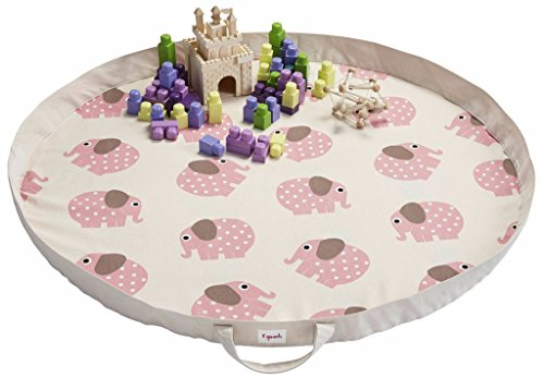 3 Sprouts Play Mat Bag - Large Portable Floor Activity Rug for Baby Storage, Elephant