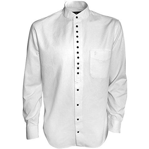 Cotton Mandarin Collar Shirt - Traditional Irish Grandfather Collarless Shirt (White, L)