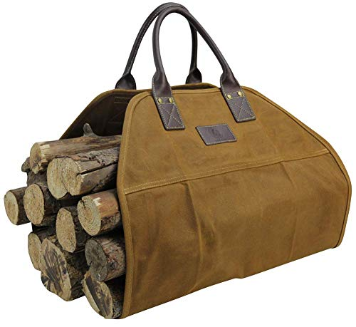 GOOD GAIN 16OZ Waxed Canvas Firewood Carrier Tote Bag with Real Leather Handle Heavy Duty, Water Proof & Dust Proof, Fireplace Accessories (Khaki)