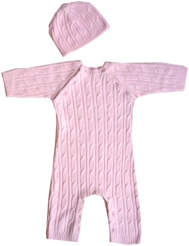 Tadpoles Cable Knit Romper and Hat Set, 3-6 Month