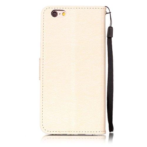"""iPhone 6 / 6S Hülle Tasche Schutzhülle Case Cover Bumper Geldbeutel und Anti-Scratch Löschen Back für Apple iPhone 6 / 6S 4.7"""" Gold"""