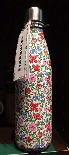 Starbucks Christmas 2017 Swell Insulated Water Bottle w/ Liberty of London Fabrics Original Artworks with floral and paisley prints (Red Flowers)