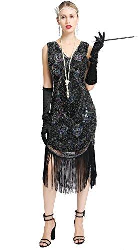 Women's Great 1920s Gatsby Costume Inspired Sequin Fringe Flapper Dress Sleeveless (Black, Large) -