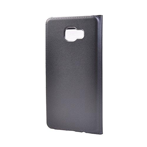 Galaxy C7 Funda,COOLKE Ultra Delgado Diseño de ventana Flip Funda Con Soporte Plegable Carcasa Funda Tapa Case Cover para Samsung Galaxy C7 - Blanco Gris