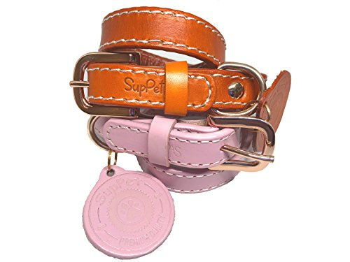 (SupPet Soft Genuine Real Leather Pet Collar for Cats Puppy Small Medium Dogs (S: 9.8