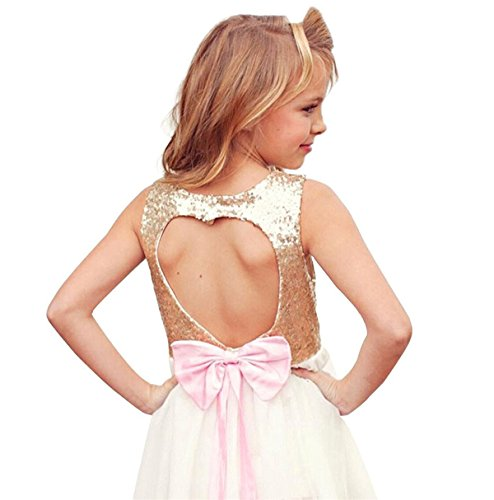 OURDREAM Little Girls Bridesmaid Dress Princess Girls Summer Backless Dresses Skirts With Bow Tie Size 6 7 (Golden,130) by OURDREAM
