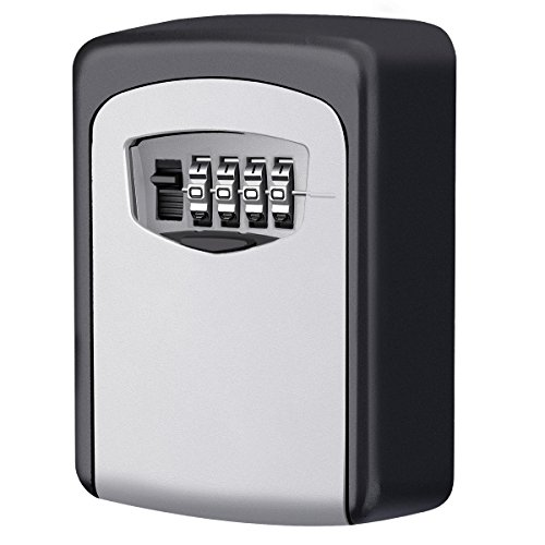 KeeKit Key Lock Box, Wall Mount Key Storage Lock Box, 4-Digit Resettable Combination Lock Box, Outdoor Weatherproof Key Box for Indoors/ Outdoors, Holds up to 5 - Policy For Privacy Online Store