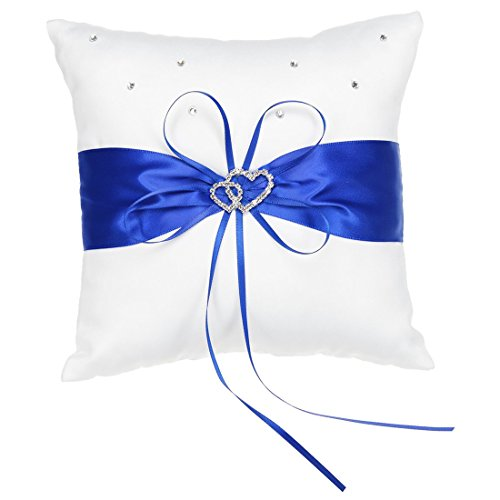 SODIAL(R) Ivory Satin Ring Pillow With Double Heart Decoration, Royal Blue