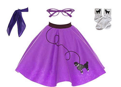 Hip Hop 50s Shop 4 Piece Child Poodle Skirt Costume Set, Size Medium Purple -