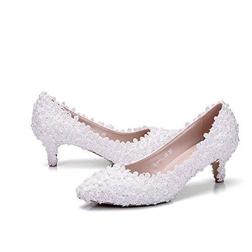 Minishion Donna Pizzo Fiori 2 Tallone Slip-on Da Sposa Da Sposa Formale Partito Scarpe Da Sera Scarpe Bianco-5cm Tacco