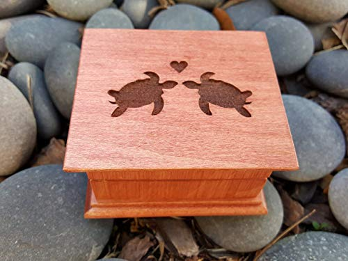 Custom music box with love turtles on the top, great gift for anniversary or Valentine's day