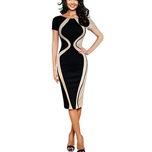 07bc1859bd7b Kleid damen Kolylong® Frauen Elegant Business Kleid mit 3 4 arm Vintage  Drucken Etuikleid ...