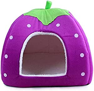 Strawberry Pet Dog Cat Rabbit Bed House 36cmx36cm Purple