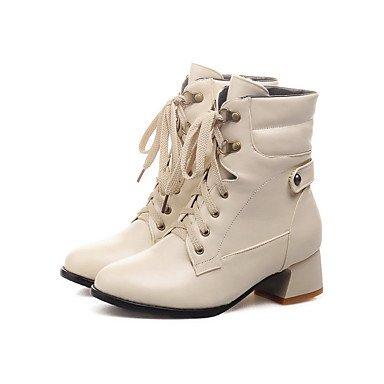 Ch & Tou Femmes-bottines-bureau Et Travail Casual Sporty-confortable-carré-pu (polyuréthane) -black Beige Beige Bourgogne, Us8.5 / Eu39 / Uk6.5 / Cn40