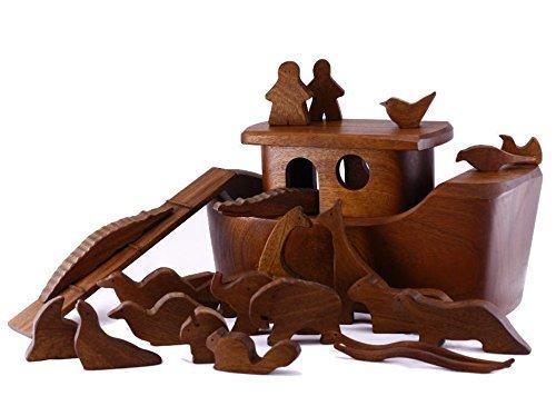 Amazoncom Solid Wood Noahs Ark And Animals Biblical Childrens