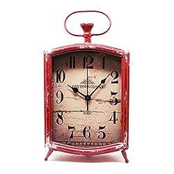 ZAERLTD Large Heavy Metal Table Clock Shelf Beautiful Vintage Retro Accent Decor (Red)